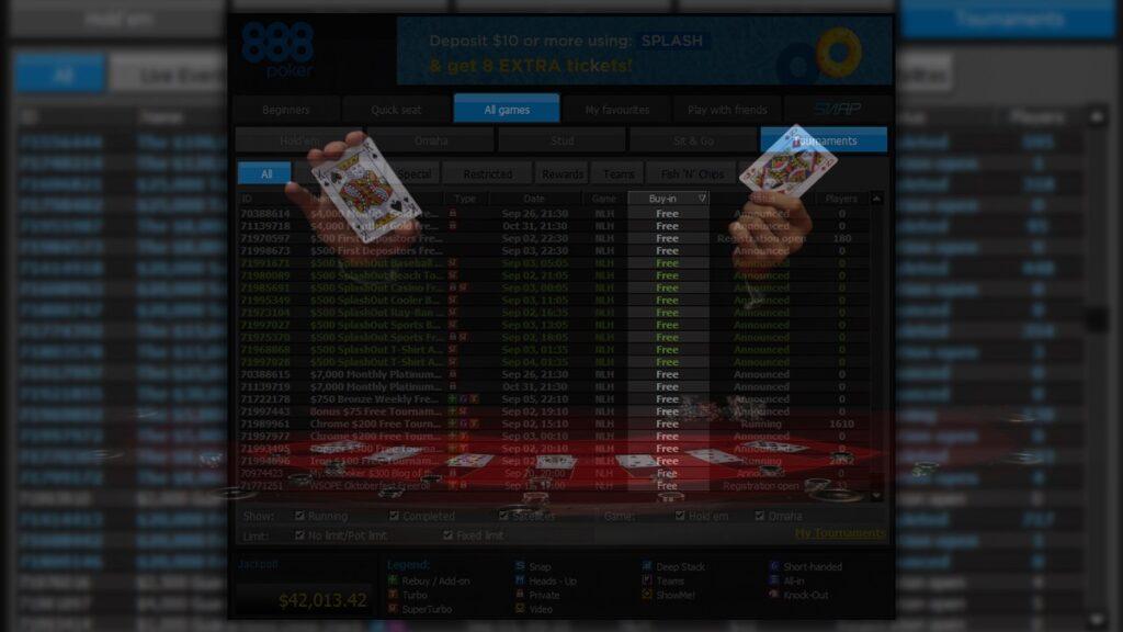 Чтобы найти все возможные варианты фрироллов - воспользуйтесь фильтрами по играм в приложении 888 Покер.